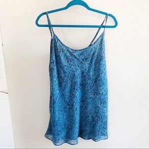 cAbi blue abstract longline tank top